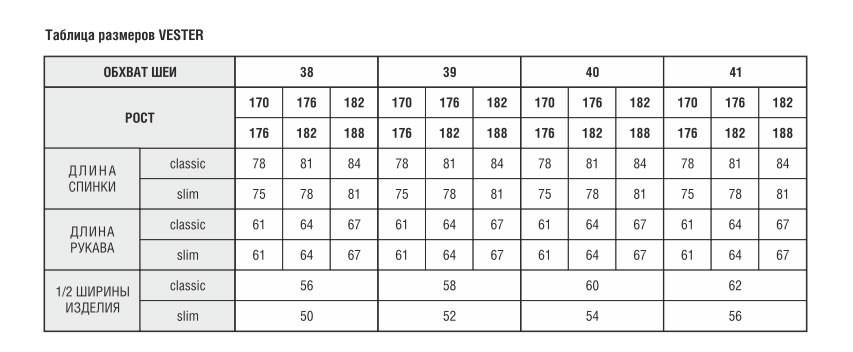 таблица измерений рубашки