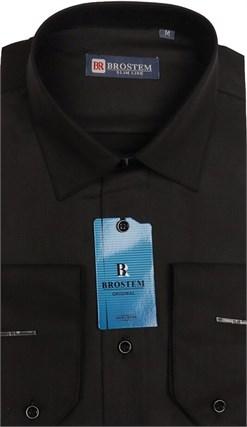 Сорочка черная BROSTEM 4715A полуприталенная - фото 10276