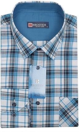 Мужская рубашка р.L лен/хлопок LN141-Z Brostem приталенная - фото 11578