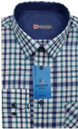 Мужская рубашка лен и хлопок приталенная Brostem LN100-1 - фото 12098