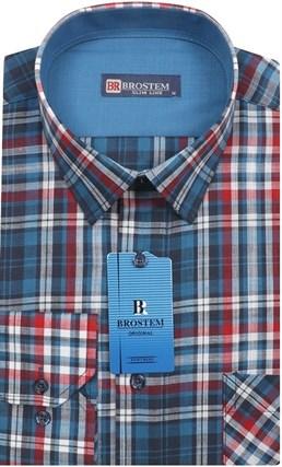 Мужская рубашка лен и хлопок приталенная Brostem LN130 - фото 12101