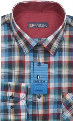 Мужская рубашка лен и хлопок приталенная Brostem LN139 - фото 12107