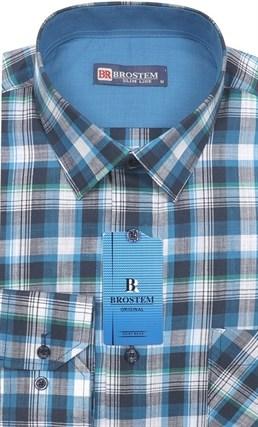 Мужская рубашка лен и хлопок приталенная Brostem LN140 - фото 12110