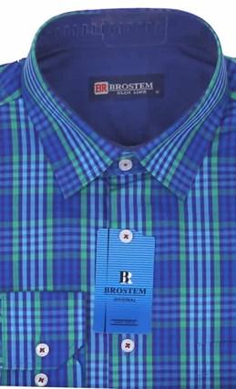 Мужская рубашка BROSTEM приталенная хлопок 100 %  K6-272-pp - фото 12724