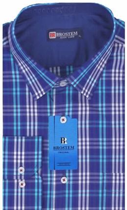 Мужская рубашка BROSTEM приталенная хлопок 100 %  K6-268-pp - фото 12726