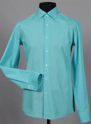 Приталенная рубашка хлопок 100 % VESTER 70714W-04 бирюза - фото 12835
