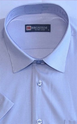 Мужская рубашка с коротким рукавом полуприталенная 8SB10-1s-pp - фото 13685