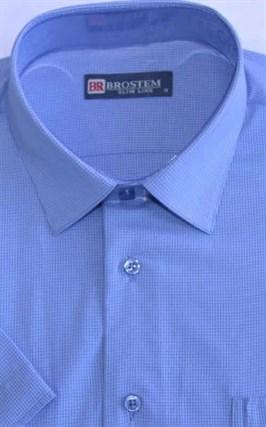 Мужская рубашка стреч с коротким рукавом полуприталенная 8SB10-4s-pp - фото 13691