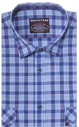 Хлопковая мужская рубашка в клетку классического силуэта SH843 BROSTEM - фото 14125