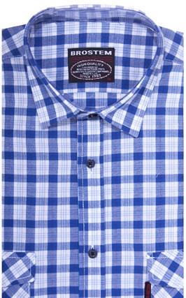 Хлопковая мужская рубашка в клетку классического силуэта SH841 BROSTEM - фото 14131