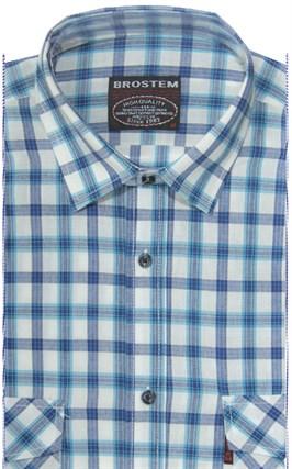 Хлопковая мужская рубашка в клетку классического силуэта SH793 BROSTEM - фото 14134