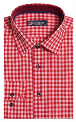 Полуприталенная лен с хлопком мужская рубашка BROSTEM 8LBR9-5-pp - фото 14170
