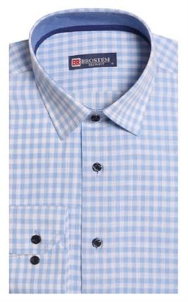 Полуприталенная лен с хлопком мужская рубашка BROSTEM 8LBR9-1-pp - фото 14215