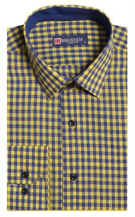 Полуприталенная лен с хлопком мужская рубашка BROSTEM 8LBR9-3-pp - фото 14220