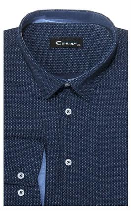 Приталенная хлопок стреч мужская рубашка 8LCR28-6-pp CITY RACE BROSTEM - фото 14241