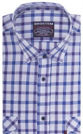 Хлопковая мужская рубашка в клетку классического силуэта SH771 BROSTEM - фото 14268