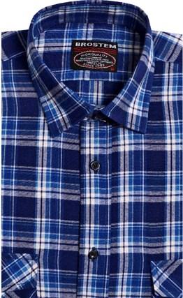 Синяя фланелевая рубашка