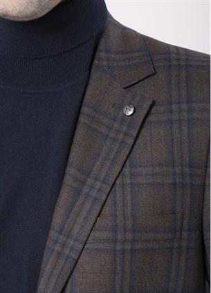 Пиджак шерстяной в клетку полуприлегающий 1736/1 - фото 14743