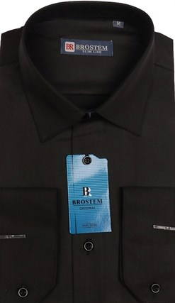 Приталенная черная сорочка BROSTEM 4715A ** - фото 14854