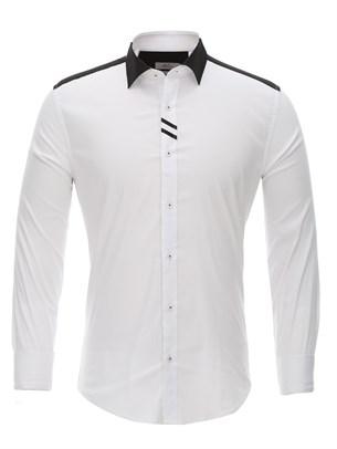Приталенная белая рубашка Bawer RZ1113008-03 - фото 15483
