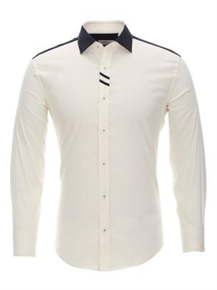 Приталенная бежевая рубашка Bawer RZ1113008-04 - фото 15489