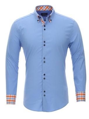 Приталенная рубашка Bawer RZ1111004-02 двойной воротник - фото 15501