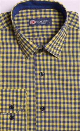 Большая желтая рубашка со льном 8LG9-3g BROSTEM - фото 15745