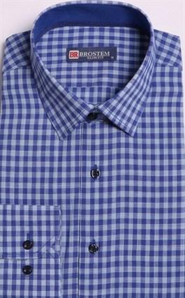 Большая клетчатая рубашка со льном 8LG9-4g BROSTEM - фото 15751