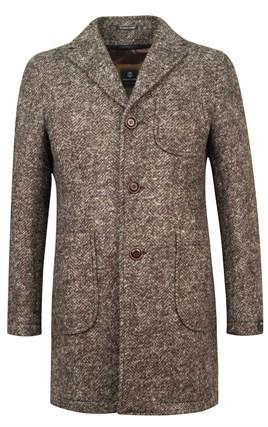 Коричневое пальто в елочку ВЕНСЕН SF - фото 16278