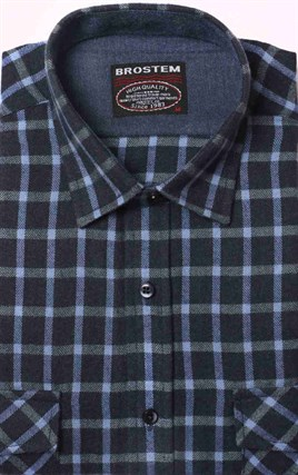 Полуприталенная фланелевая рубашка с шерстью KA9L5-5 - фото 16288