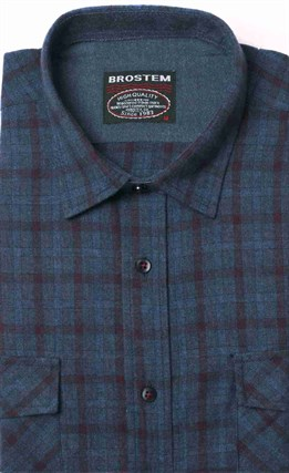 Полуприталенная фланелевая рубашка с шерстью KA9L5-7 - фото 16312