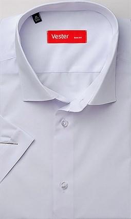 Прямая белая рубашка с коротким рукавом VESTER 72914-14-66 - фото 17675