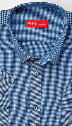Синяя большая рубашка с карманами