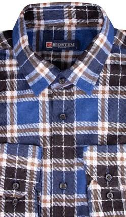 Синяя байковая рубашка в клетку