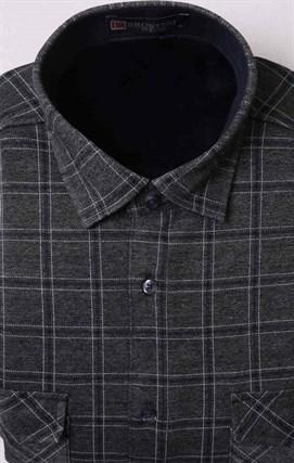 Серая рубашка в клетку на флисе