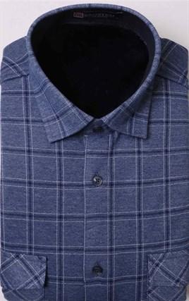 Голубая в клетку рубашка на флисе  за 1790 руб