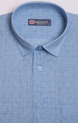 Голубая рубашка короткий рукав за 1090