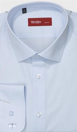 Голубая однотонная офисная рубашка