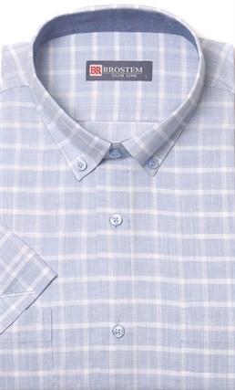 голубая рубашка в клетку короткий рукав недорого