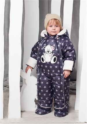 """Зимний комбинезон-трансформер для мальчика Oldos """"Звездочка"""" серый с белым"""