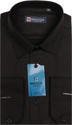 Полуприталенная сорочка черная BROSTEM 4715A