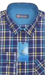 Мужская рубашка лен/хлопок LN143-Z Brostem приталенный