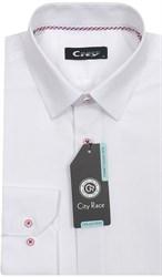 Белая рубашка CITY RACE 714C-2 приталенная
