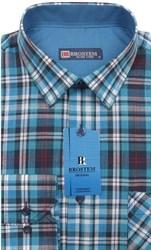 Мужская рубашка лен и хлопок приталенная Brostem LN136