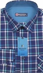 Мужская рубашка лен и хлопок приталенная Brostem LN145