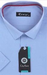 Мужская рубашка с коротким рукавом приталенная, CITY RACE 8SC06-2s-p