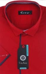 Мужская рубашка с коротким рукавом приталенная, CITY RACE 8SC07-3s-p