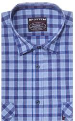 Хлопковая мужская рубашка в клетку классического силуэта SH843 BROSTEM