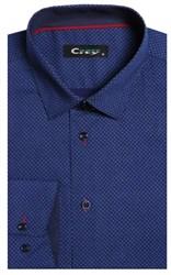 Приталенная хлопок стреч мужская рубашка 8LCR26-1-pp CITY RACE BROSTEM