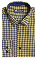 Полуприталенная лен с хлопком мужская рубашка BROSTEM 8LBR9-3-pp